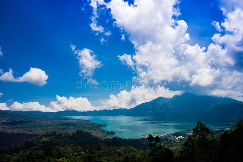 Lake of Batur. The widest lake called Batur at the feet of mount Batur in Bali stock photos