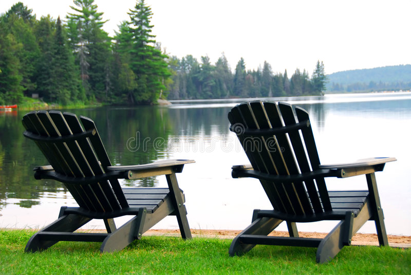Lake Beach Chairs Stock Images Image 1327904