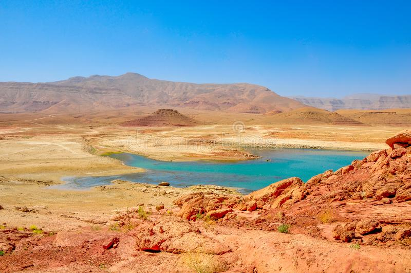 Lake of beautiful turquoise color in a desert part of Morocco stock photo
