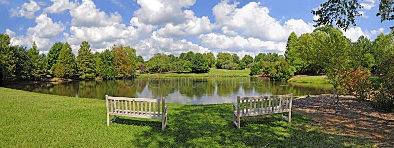 Lake And Bench Panorama Stock Photography