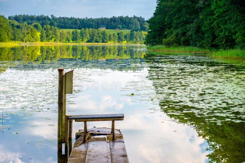 Lake and bench royalty free stock photos