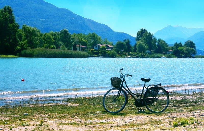 Lake with bike stock image