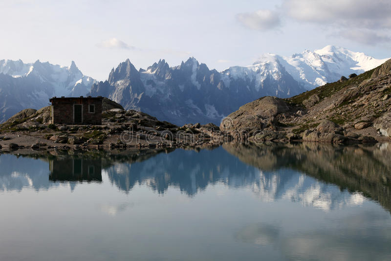 Lake Blanc. View on the french Alps and the mont Blanc from the lake Blanc near Chamonix royalty free stock images