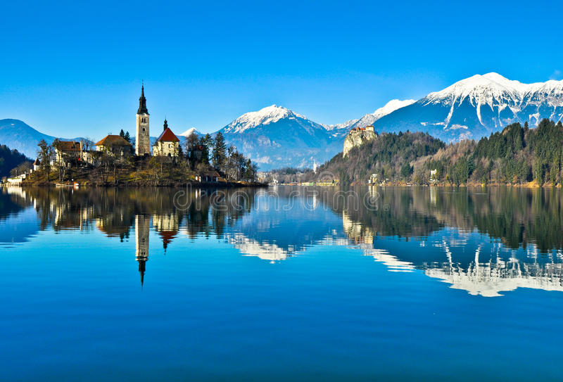 Lake Bled. With a church on the island in it stock photos