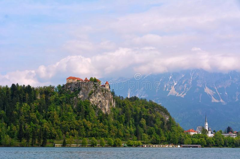 Lake Bled with castle in Slovenia stock image
