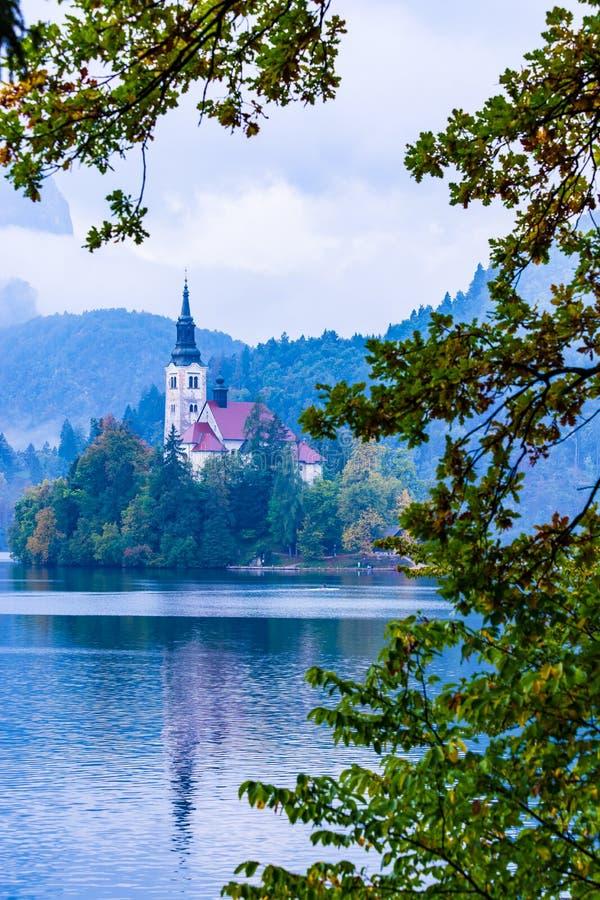 Lake Bled famous island  amazing view Slovenia Europe stock photo