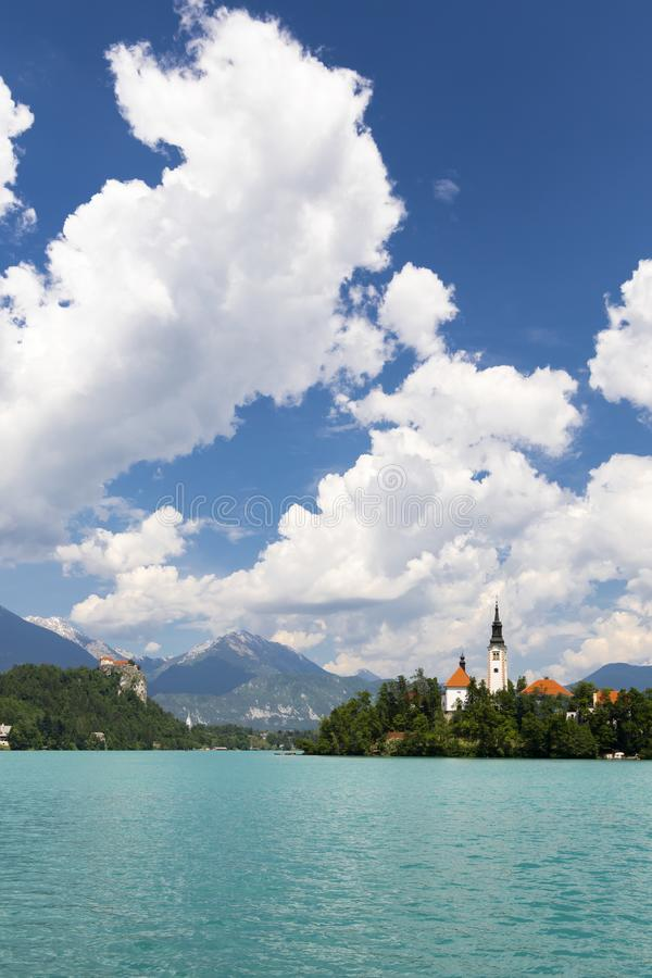 Lake Bled with mountains in Slovenia stock photography