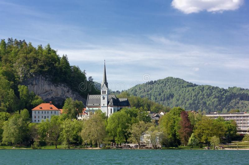 Lake Bled and Saint Martin Church in Springtime stock photo