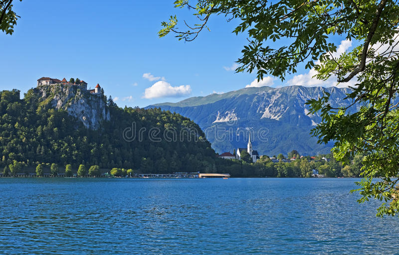 Lake Bled, Slovenia. Evening view of Lake Bled with castle and foliage, Slovenia stock photo