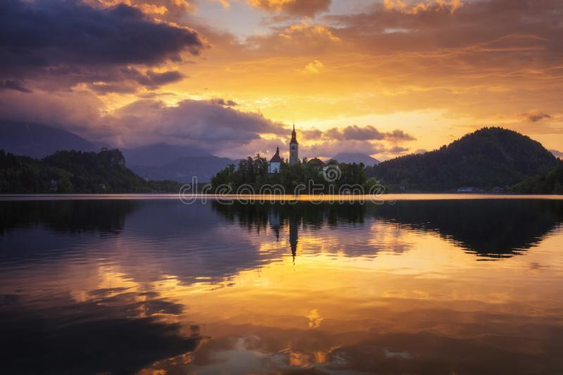 Lake Bled Slovenia. Beautiful mountain Bled lake with small Pilgrimage Church. Most famous Slovenian lake and island Bled with Pi. Lgrimage Church of the stock photo