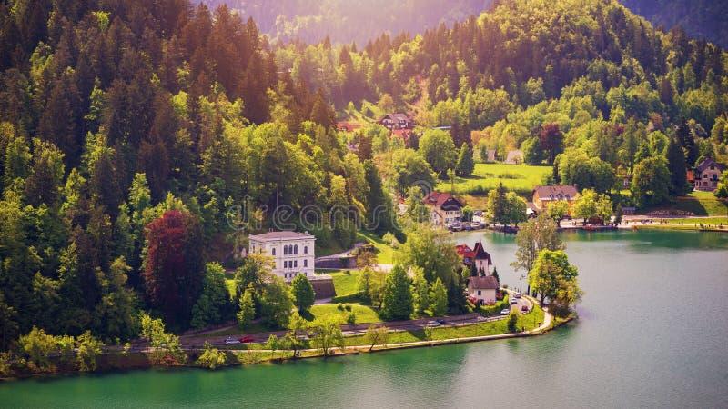 Lake Bled Slovenia. Beautiful mountain lake with beautiful house royalty free stock photo