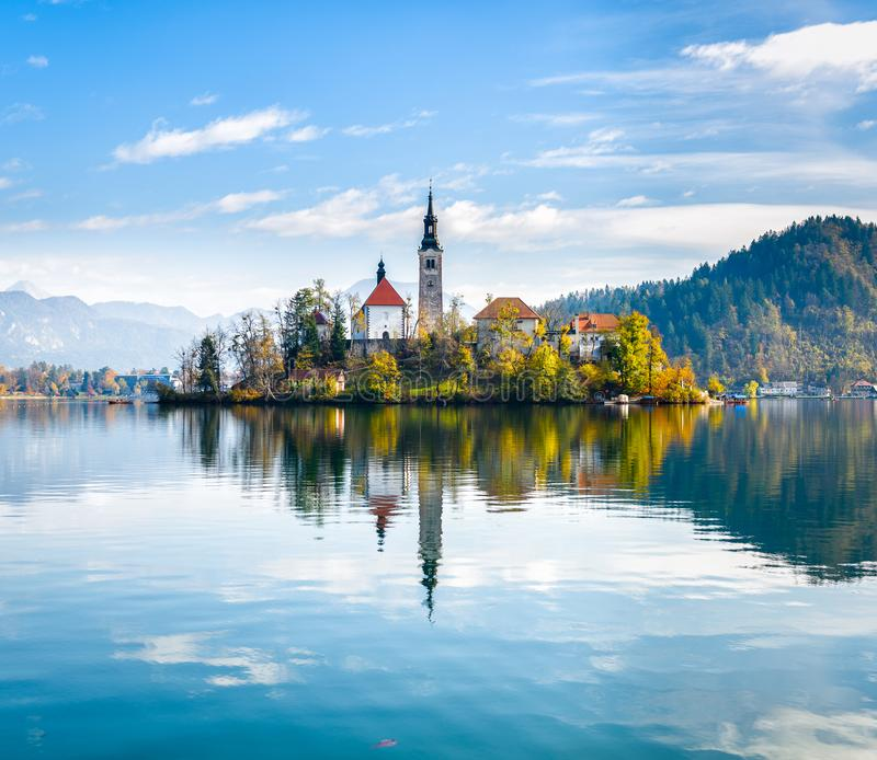 Lake Bled Slovenia. Beautiful mountain lake with small Pilgrimage Church. Most famous Slovenian lake and island Bled with Pilgrimage Church of the Assumption royalty free stock images
