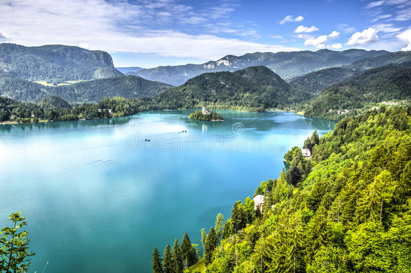 Lake Bled, Slovenia. Church of the Assumption Island seen in a perfect summer day on Lake Bled, Slovenia stock photo