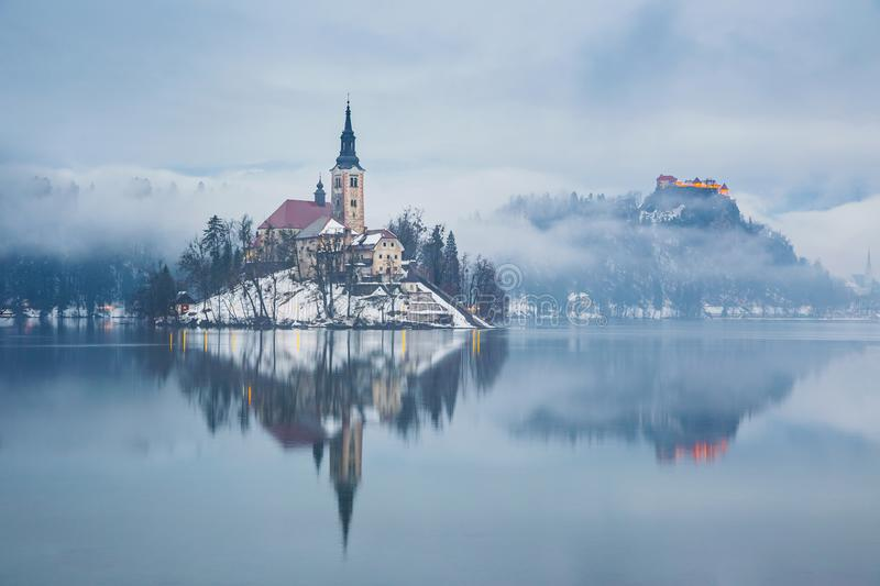 Lake Bled ,Slovenia, Europe. Lake Bled with St. Marys Church of the Assumption on the small island; Bled, Slovenia, Europe stock photos