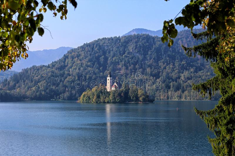 Lake Bled in Slovenia with Island royalty free stock images