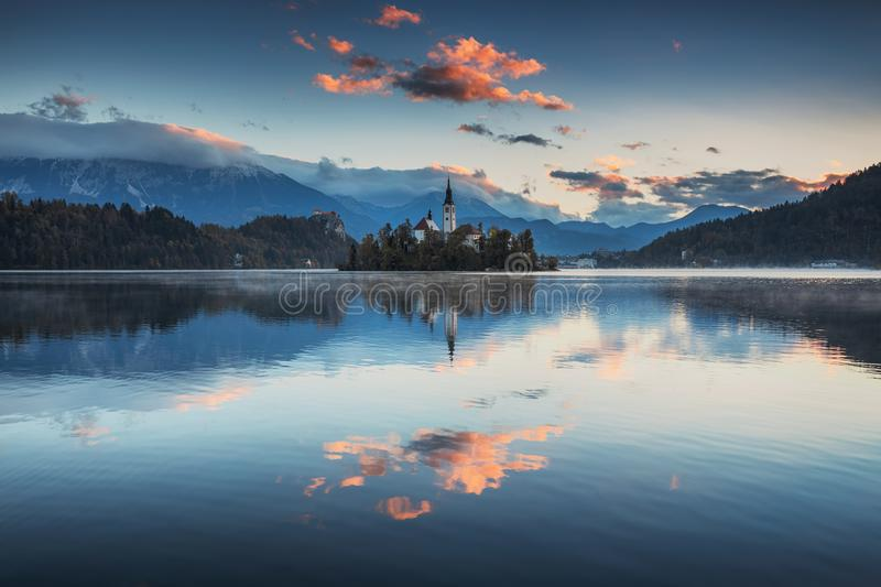 Lake Bled with St. Marys Church of the Assumption on the small i. Sland; Bled, Slovenia, Europe stock images