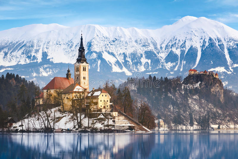 Lake Bled with St. Marys Church of the Assumption on the small i royalty free stock images