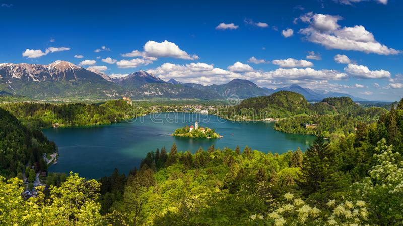 Lake Bled with St. Marys Church of Assumption on small island. Bled, Slovenia, Europe. The Church of the Assumption, Bled, royalty free stock images