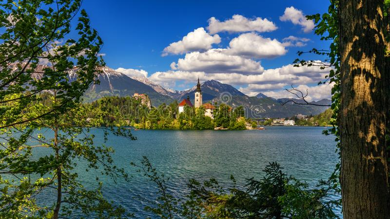 Lake Bled with St. Marys Church of Assumption on small island. Bled, Slovenia, Europe. The Church of the Assumption, Bled, royalty free stock photography