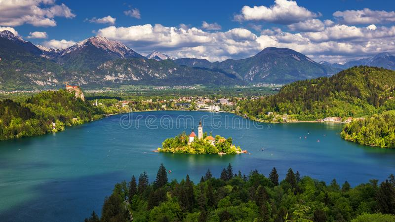 Lake Bled with St. Marys Church of Assumption on small island. Bled, Slovenia, Europe. The Church of the Assumption, Bled, royalty free stock image