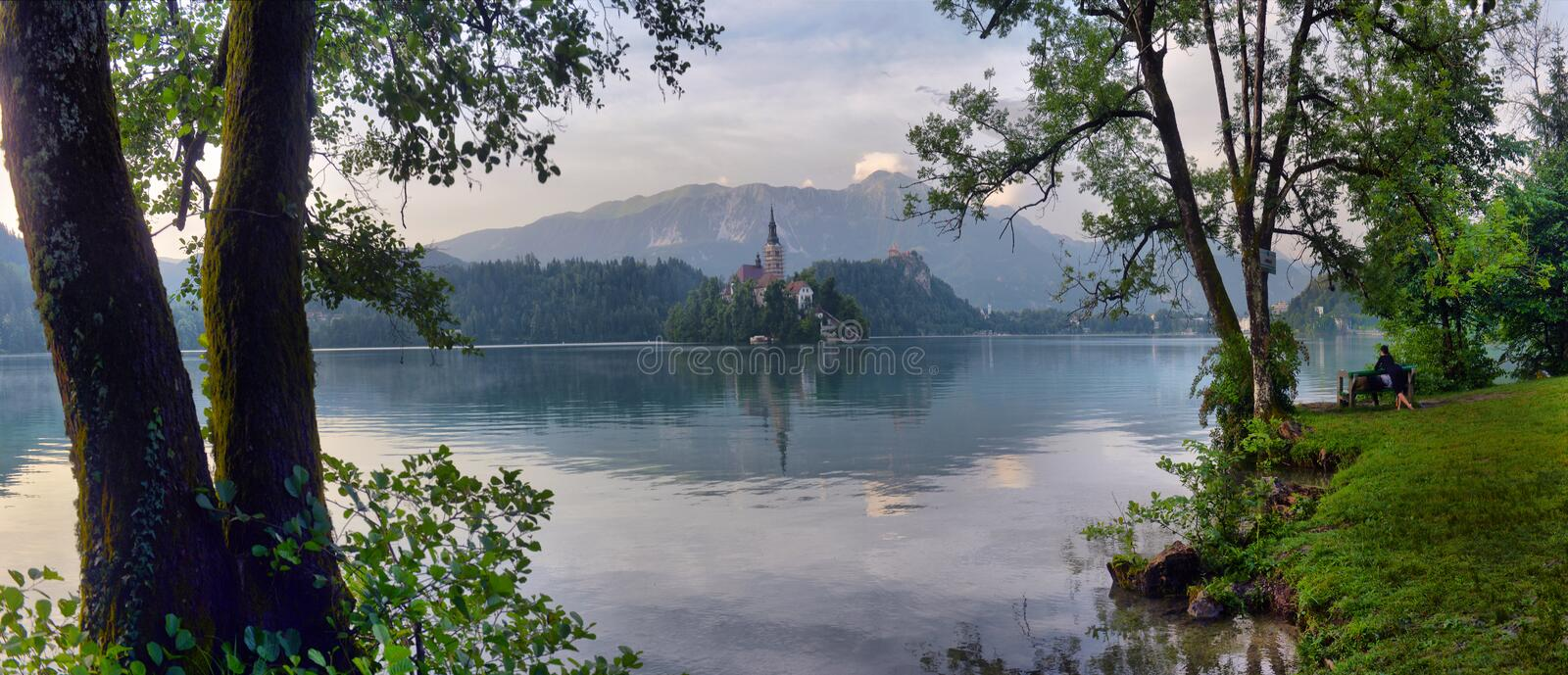 Lake Bled with St. Marys Church of Assumption on small island. B royalty free stock photo