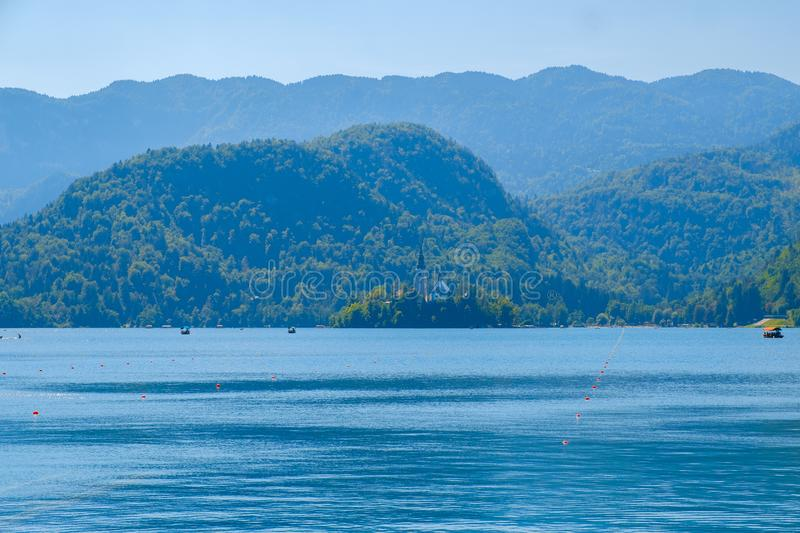 Lake Bled with St. Marys Church of Assumption on small island on stock photography