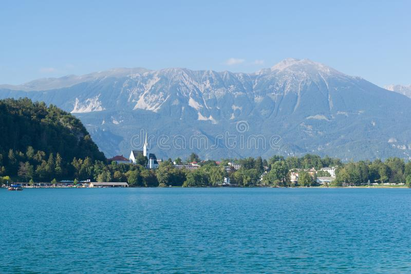 Bled with lake, island and mountains in background, Slovenia royalty free stock photo