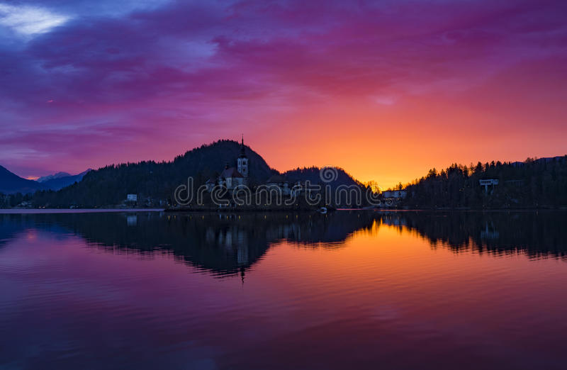 Lake Bled sunrise royalty free stock image