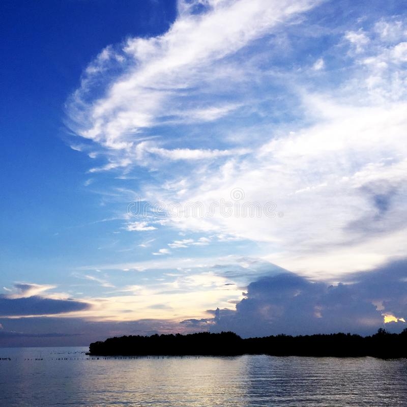 Lake and Blue Sky Nature. Beautiful Landscape on the River with Sky Clouds of Thailand stock image