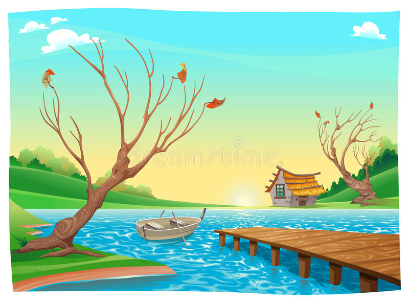 Lake with boat. stock vector. Illustration of path, fable ...