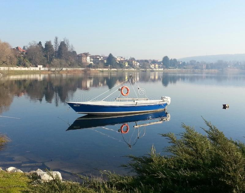 Lake boat on river royalty free stock photography