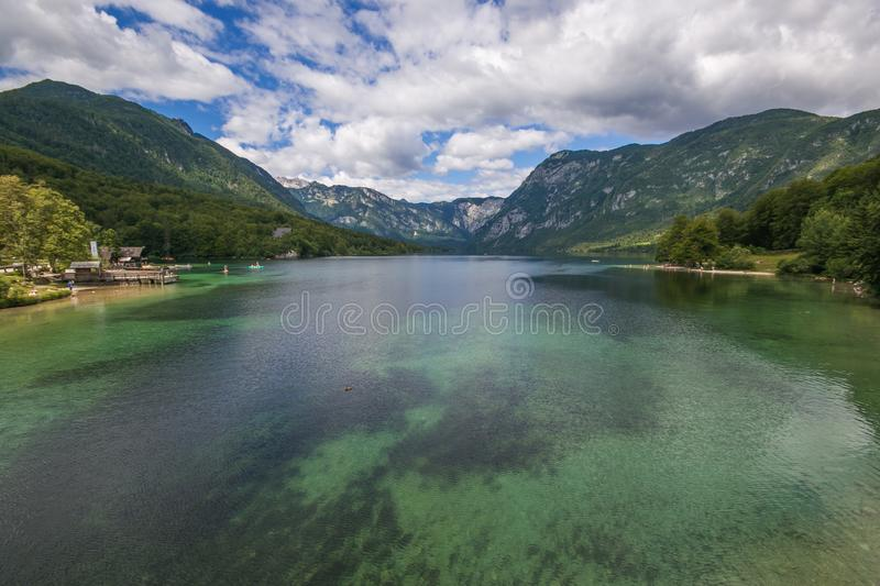 Lake Bohinj is located within the Bohinj Valley of the Julian Alps, in the northwestern Upper Carniola region, and part of Triglav. National Park, Slovenia stock image
