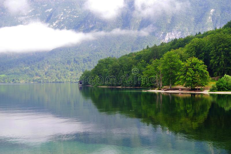 Lake Bohinj in Triglav National Park. Lake Bohinj - Slovene: Bohinjsko jezero - covering 318 hectares, is the largest permanent lake in Slovenia. It is located stock images