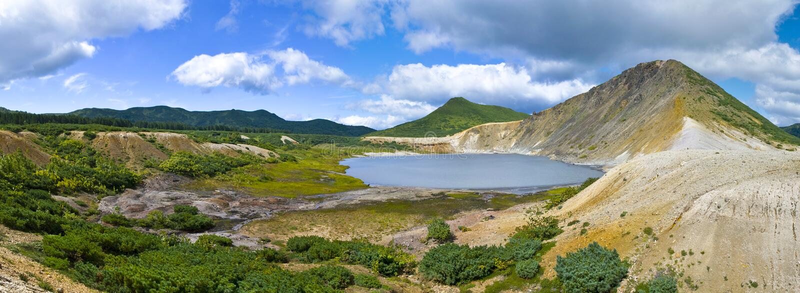 Lake Boiling volcano, Golovnina. Island Kunashir royalty free stock images