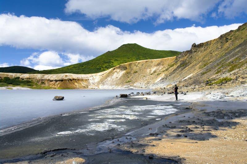 Lake Boiling vulcan Golovnina. Island Kunashir stock photos