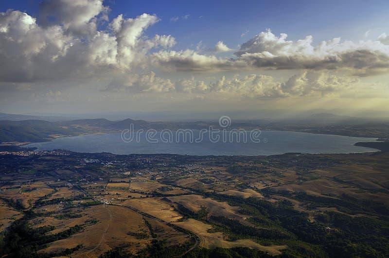 Lake Bolsena. Aerial view of Lake Bolsena royalty free stock photography