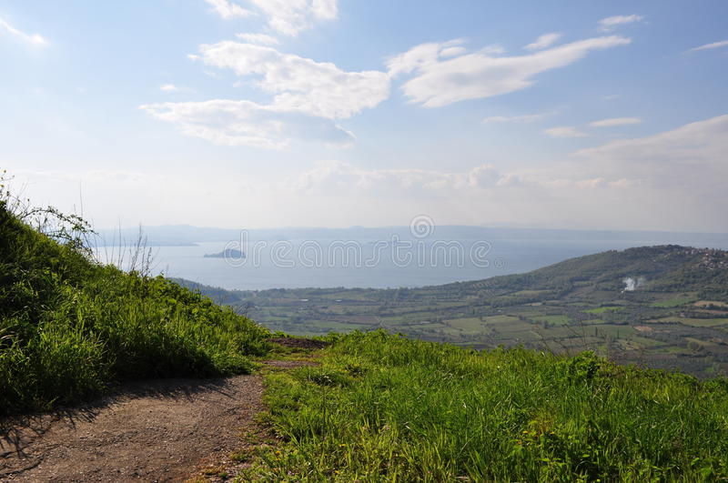 Lake Bolsena. View on lake Bolsena in the spring from a hill. Italy stock image