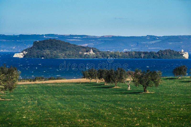 Bolsena, Lazio - Italy. Lake of Bolsena Italy - The medieval town with castle on Lake Bolsena, region Latium, central Italy stock photography