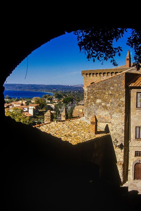 Bolsena, lazio, italy. Lake of Bolsena Italy - The medieval town with castle on Lake Bolsena, region Lazio, central Italy stock photo
