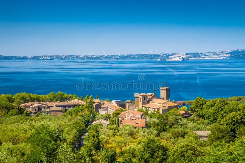 Lake Bolsena, province of Viterbo, Lazio, Italy. Panoramic view of Lake Bolsena (Lago di Bolsena), province of Viterbo, Lazio, central Italy stock photo