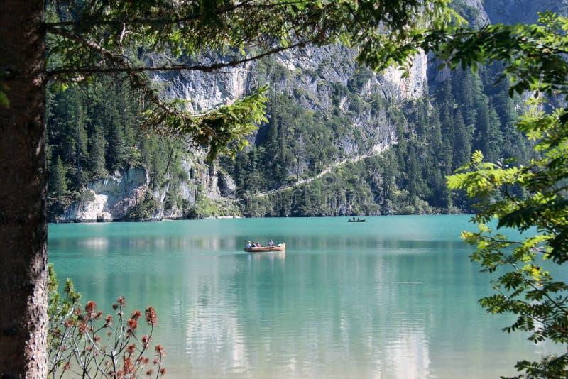 Lake Braies Boating royalty free stock photos