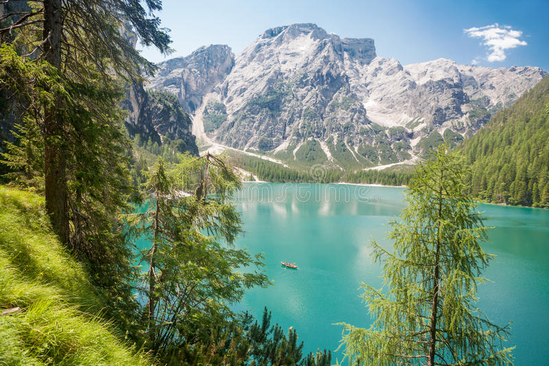 Lake Braies in the Dolomites stock image