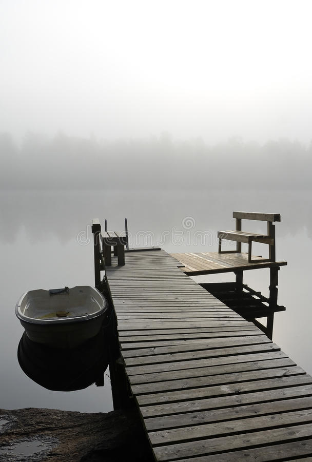 Lake Bridge In Foggy Morning Stock Photography
