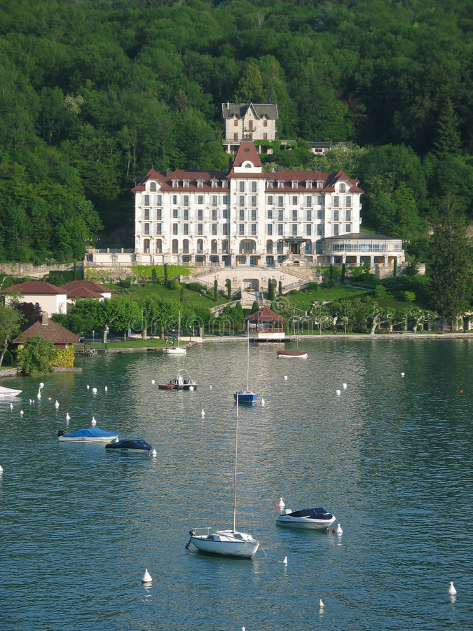 Lake and building (Annecy) royalty free stock images