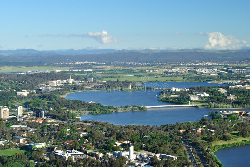 Lake burley griffin stock photography