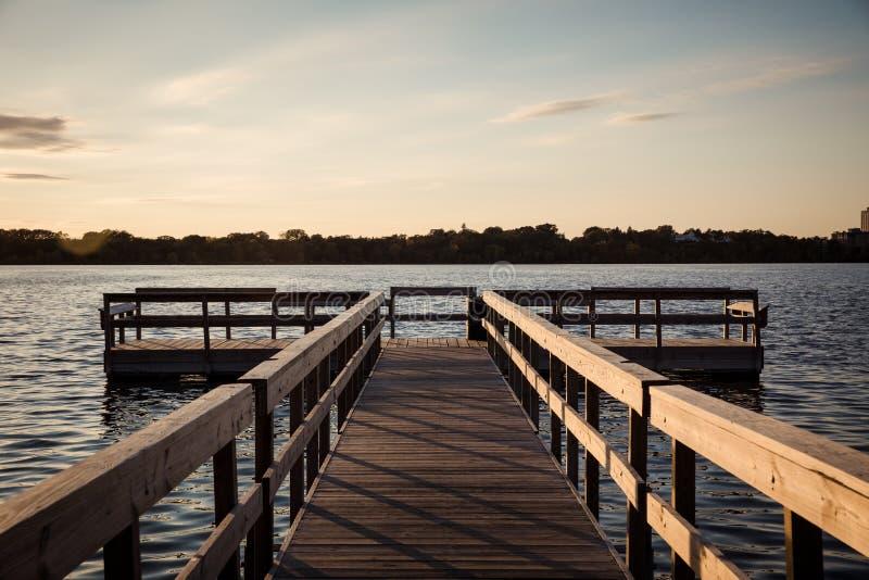 Lake Calhoun Minneapolis. Porch Lake Calhoun Minneapolis Sunset stock photo