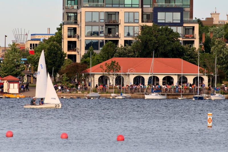 Lake Calhoun Recreation Area in Uptown Minneapolis stock photo