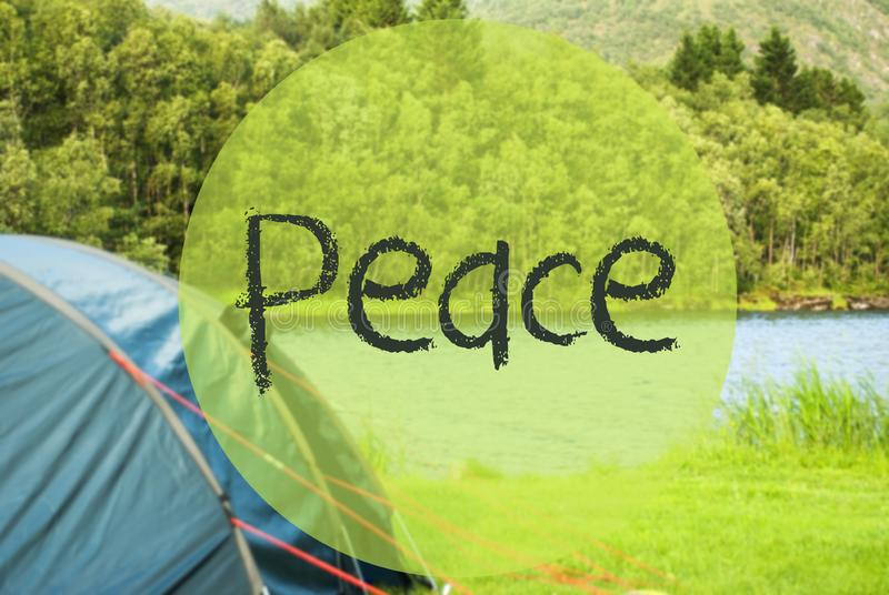 Lake Camping, Text Peace, Norway, Green Grass Meadow stock photo