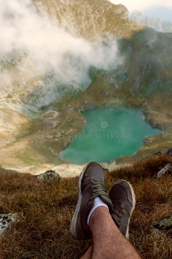 Lake Capra. from the Fagaras Mountains. View from the top of the Șaua Caprei royalty free stock photos