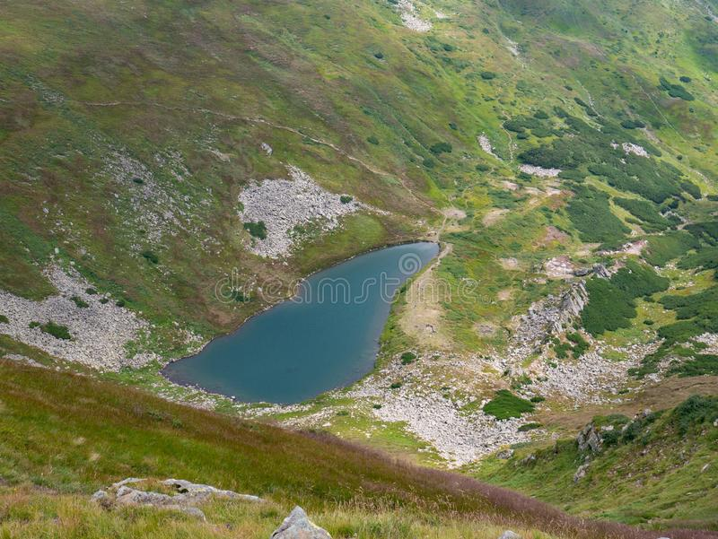 Lake in the Carpathians in the summer sunny day stock image